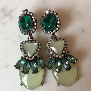 Baublebar green gem drop statement earrings